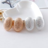 Wholesale Steel Cuff Oval - New Fashion contracted classic oval pattern ear clip golden holiday gift earrings jewelry wholesale silver girl Free shipping