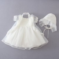 Wholesale Taffeta Beige Gown - 2016 Sumemr Baby Dress Party Dress Lace Flower Beige Baptism Dress Princess Tutu Dress+coat+Cap 3-12M Baby Girl Wedding party dress