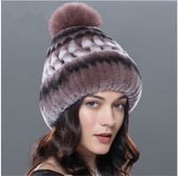 Wholesale Genuine Fox Fur Hat - 5Women winter hat genuine rex rabbit fur beanies hat fox fur pom poms casual caps 2017 new Russia fashion female caps big sale