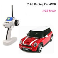 Wholesale brushless car speed controller - High speed rc cars 4wd rc truck 1 28 minicooper model remote control car toys for children drop shipping