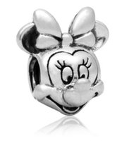 Wholesale Christmas Minnie - New Arrival Mickey Minnie Head Beads Charm Silver European Charms Bead Fit Pandora Snake Chain Bracelet Fashion DIY Jewelry