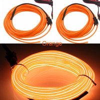 Filme de néon 5 mm Light Foil 3m Comprimento Orange El WIre 5mm com <b>Dc3v Battery</b> Inverter By Free Shipping