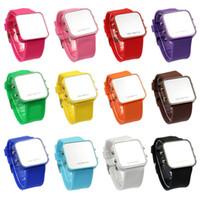 Wholesale Led Faceless Watch - 2016 New Arrival Mini LED Digital Watch Calendar Day Date Silicone Watch Sport Mirror Faceless Men Women Watch Hot Sale Relojes