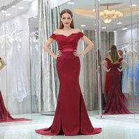 Wholesale Alibaba China - Alibaba China Burgundy Evening Dresses Mermaid 2017 V Neck Cap Sleeves Covered Button Sweep Train Bridal Party Prom Dress Bridesmaid Gown