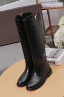 ingrosso logo genuino-Scarponi da neve da donna di moda di lusso V Logo Winter Knee High 16 Inch 100% Genuine Leather Motorcyle Shoes Size 34-41