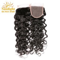 Wholesale Ocean Three - Brazilian Virgin Hair Water Wave Lace Closure Wet And Wavy Human Hair Virgin Brazilian Hair Water Wave Closure Natural Brazilian Ocean Wave