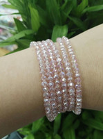 Wholesale Stretch Glass Bracelets - 4mm Crystal Fine Beads Long Elastic Necklace Cutting Facets Glass Beads Stretched Necklace Bracelet Plain Jewelry