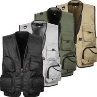 herren weste taschen großhandel-Großhandelsmänner große Größe XL-5XL beiläufige Weste männliche Mehrfachtaschen-feste neue Art- und Weisewesten-Mann-Qualitäts-Overall-Weste