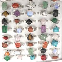 18kgp hochzeit bands großhandel-Mischungs-Los-natürliche Stein schellt Ring-Art- und Weiseschmucksache Bague 50pcs der Frauen freies Verschiffen