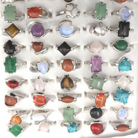 Wholesale stone rings wholesale - Mix Lot Natural Stone Rings Women's Ring Fashion Jewelry Bague 50pcs Free Shipping