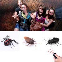 Wholesale Cockroach Novelties - 3 Styles Novelty RC Ants Cockroaches Spider Toys Remote Control Simulation Toy Animal Halloween Christmas Trick Gift CCA8204 24pcs