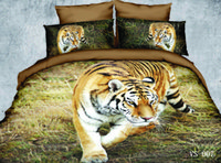 Kind Size Bedding Sets 3D Tiger Printed Polyester Cotton Six Pieces Home Fontes de cama Cobertura de edredon Coverlet e malas de almofada