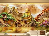 Wholesale Classic Beautiful Paintings - TV background wallpapers 3d relief mural painting beautiful mountain wall cloth living room sofa seamless wall covering non-woven wallpaper