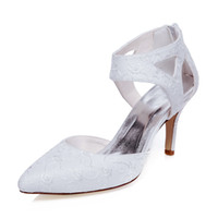 Wholesale Low Heel Pointy Shoes - Delicated Ivory Lace Embroidered Pump Pointy Toe Elegance Sandal Bridal Shoes Wedding Dress Shoes Handmade Shoes for Wedding Party Shoes