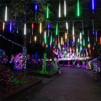20CM 30CM 50CM 8PCS / Set Multi-color Meteor Shower Rain Lights Cadeia impermeável para festa de casamento Christmas Xmas Decoration Tree
