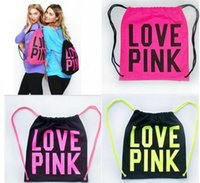 Wholesale Korean Style Canvas Backpack - Drawstring Cosmetic Bags Women Victoria Pink Backpack LOVE PINK School Bag Letter Makeup Storage Bags Canvas VS Organizer Shopping Bags