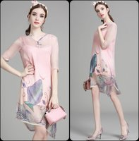 Wholesale Red Slit Cheongsam - 2016 European Fashion Cheongsam Ink Printing Cotton Slit Bottoming Straps Buttons V Neck Woman Summer Dress