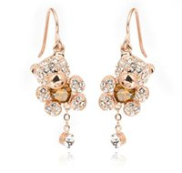 Moda Crystal Austria Rhinestone TL Gold Drop Earrings Cute Bear Design Rose Gold Color Lovely Style Jewelry For Women Venda por atacado