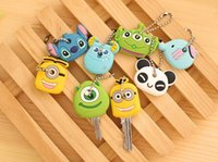 Wholesale keys caps rubber - Wholesale-Factory 8Designs Cartoon Choice 2.5CM Rubber KEY Cover Shell Pendant Hook Cap Case Key Cover Coat Wrap Cover KEY CAP Key Wallet