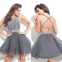 Wholesale Exposed Zipper Top - 2017 New Rachel Allan Crystals Homecoming Dresses Sheer Cocktail Gowns Beaded Stones Top Mini Organza Short Party Prom Dresses BA3501