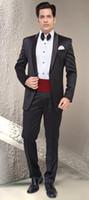 Wholesale Suits Cummerbunds - 2016 Hot Sale Wedding Tuxedos Best man Suit Shawl Lapel formal Suit Groom Tuxedo Mens Suit Jacket+Pants+Tie+Cummerbund
