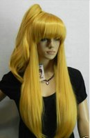 100% tout neuf de haute qualité de la mode Photo wigsCosplay long Light Gold Blonde Heat Wig + un clip sur Ponytail