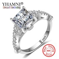 YHAMNI Original 925 Solid Sterling Silver Micro Inlay Clear AAA CZ Bijoux en diamant Anneaux Anillos R912