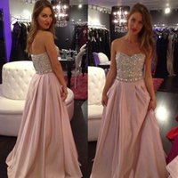 Wholesale Diamond Strapless Prom Dresses - 2016 Cheap Chiffon Prom Dresses Floor Length A Line Sweetheart with Glamorous Beading and Diamonds Zipper Back Bling Dresses Party Evening