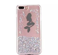 ingrosso telefono iphone i6-2017 Liquid Quicksand Glitter Soft TPU Case Cartoon Girl Mermaid Angel Star Flow Trasparente trasparente per I6 + I6S Telefono di lusso