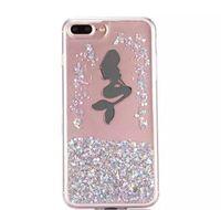 kızlar için iphone kutuları toptan satış-2017 Sıvı Quicksand Glitter Yumuşak TPU Kılıf Karikatür Kız Mermaid Melek Yıldız Akışı Temizle Şeffaf I6 + I6S cilt Telefonu Için Lüks