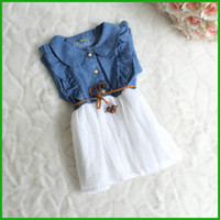 Wholesale Jeans Party Dress - 2016 children girls vestidos Baby Girls Child Princess Party Dress Clothes Kid Summer Denim Jeans Dress fashion casual style free shipping