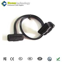 Wholesale Male Automotive Connector - Flat Thin As Noodle GPS Cable 60cm OBD2 16Pin Male to Female Connector 8 Pin Cable Car accessories Diagnostic Cables Extension Connectors