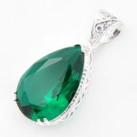Wholesale Wholesale Jewelry Dozens - Half Dozen Superb Best Fire Green Amethyst Gems 925 Sterling Silver Pendants Necklace USA Israel Jewelry Free Shipping
