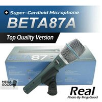 micrófono de condensador de calidad al por mayor-Venta Envío Gratis! Micrófono de condensador real BETA87A Beta de calidad superior 87A Supercardioid Vocal Karaoke Micrófono de mano Mike Mic