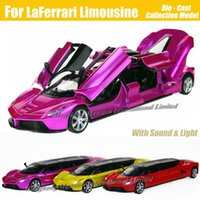 Wholesale Car Yellow Sport Light - 1:32 Scale Alloy Metal Diecast Luxury Super Sports Car Model For LaFerrari Limousine Collection Model Toys Car With Sound&Light