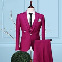 Neues Design One Button Pink Bräutigam Smoking Kerbe Revers Groomsmen Mens Hochzeit Smoking Prom Suits (Jacke + Pants + Weste)