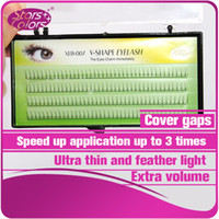 Wholesale Eyelash Extensions Flares - 2 flares V Shape eyelash cover eyelashes gaps natural makeup Extension soft Silk mink 2D volume charming Eyelashes