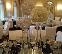 tabelas apenas venda por atacado-Esfera de cristal selll apenas) Elgant bacia em forma de peças centrais de cristal de casamento para homehotel, suporte de vela de casamento para decoração de mesa de casamento