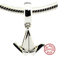 Wholesale Heart Crane - Origami Crane Hanging Charm 100% 925 Sterling Silver Bead Fit Pandora Fashion Jewelry DIY Charm Brand