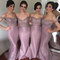Wholesale Lilac Strapped Bridesmaid Dresses - Spaghetti Straps Lace Beaded Mermaid Bridesmaid Dresses 2017 New Arrival Long Party Gowns Plus Size Satin Women wedding occasion