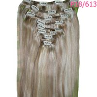 Wholesale Hair Extensions Light Blond - Wholesale-22inches 8Pcs 120g Natural Straight Remy Clip in Hair Extension Light Blond 15 colors Free Shipping