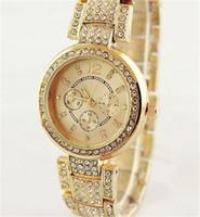 Wholesale button watch batteries - Fashion quartz Women watch Rhinestones Clock dial Bracelet Quartz Watches Jewelry button Full Steel Quartz woman Watches wholesale
