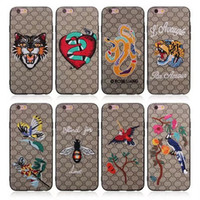 Wholesale Iphone Leather Snake - For iphone x Case Luxury Brand Embroidery Snake Tiger Bee Cases Animal Famouse Design Case Cover for iphone x 8 7 6 6s plus Samsung note 8
