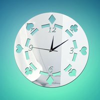 Wholesale Poker Stickers - 2016 New Diy Acrylic Mirror Pattern Wall Clock Large POKER Living Room Clocks Watch 3d Stickers Kitchen Free Shipping