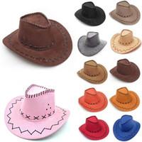brutierte cowboy mens hüte großhandel-Cowboy Hut New Wildleder Look Wild West Kostüm Herren Ladys Cowgirl Unisex Erwachsene Frauen Männer Kinder Visor Knight Wide Brim Hüte HH7-212