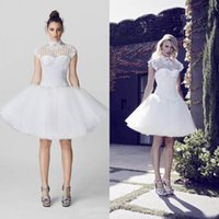 Wholesale Collar Neckline Wedding Dress - 2016 Stunning High Neck Short Wedding Dresses Illusion Neckline Sleeveless Appliqued Puffy Casual Bridal Gowns Open Back Zipper up Custom