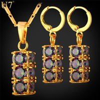 Wholesale mystic earrings - unique Luxury Zirconia Cylindrical Jewelry Women Set 18K Gold Plated  Platinum Lucky Mystic Jewelry Party Earrings Necklace Set S820