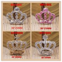 decorações em strass para iphone venda por atacado-Frete grátis Espumante Claro Cristal Rhinestone Crown Botões Plana Voltar dois botões de Decoração de tamanho