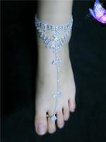 seksi ayak bayan toptan satış-Seksi Kristal Kadınlar Gelin Yalınayak Sandalet Ayak Takı Halhal Zincir Plaj Sandal Toe Ring ile Lady Parti Halhal Düğün Gelin Aksesuarı
