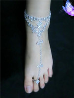 Wholesale Ladies Flat Crystals Sandals - Sexy Crystal Women Bride Barefoot Sandal Foot Jewelry Anklet Chain Beach Sandal with Toe Ring Lady Party Anklet Wedding Bridal Accessory